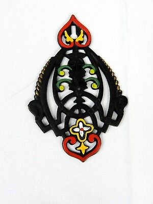 Vintage Cast Iron Wall Hanging Decorative Piece Hand Painted Miniature