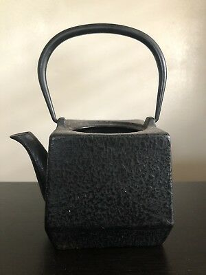 Fine Old SIGNED Japanese Cast Iron Tetsubin Teapot w Handle Scholar Art NR