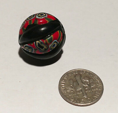 Antique Venetian Millefiori Black Cross Center Murine African Glass Trade Bead