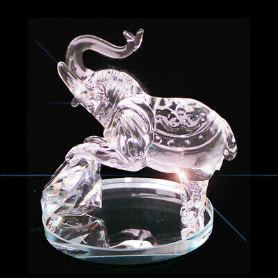 Elephant Clear Crystal Cut Glass Ornament Statue African Solid Sculpture 10cm Hi