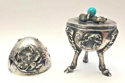Russian 1886 Sterling 84 Silver And Rubby Egg Three Legs Stand       Magnificent