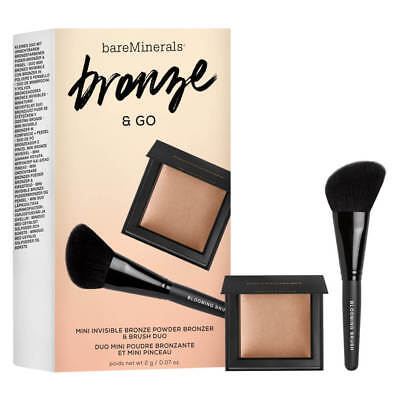 Bareminerals Bronze & Go Invisible Bronze Powder & Mini Blooming Blush Brush Nib