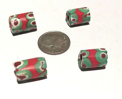 4 Rare Antique Venetian Millefiori Banded Red Center Murine African Trade Beads