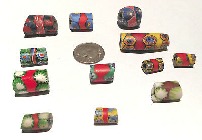 12 Vintage Venetian Millefiori Red Banded Murine African Glass Trade Beads