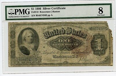 Large Size $1 1886 Silver Certificate Note Fr#219 (VG 8)  PMG.