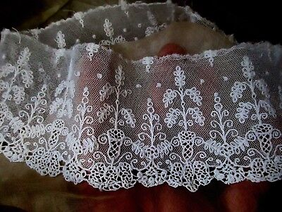 Delicate Antique Edwardian French 1910 Liturgical Embroidered Lace Trim Pc