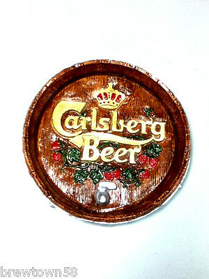 Carlsberg beer sign chalkware wall statue barrel head display plaque import BC9