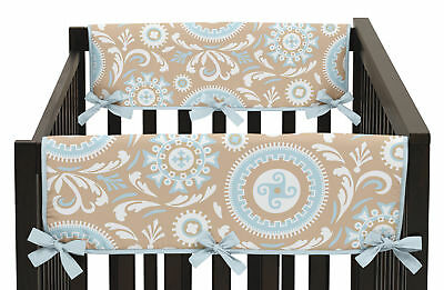 Jojo Hayden Blue Taupe 2Pc Side Rail Guard Crib Cover Baby Teething Protector