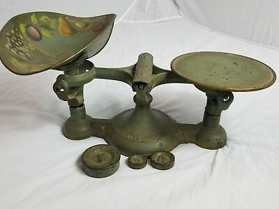 Antique cast iron Fairbanks mercantile scale. ONE OF A KIND! 3- weights, Scoop
