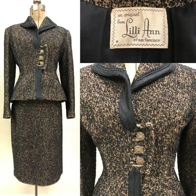 Vintage 1940's LILLI ANN Brown/Black Boucle Suit Set Blazer Skirt Wool Italy S/M