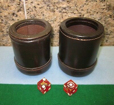 Vintage Leather Dice Cups w/Dice *Lot of 2 each*