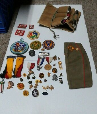 Boy Scout Hat Size Lg  & Pins,Patches Lot