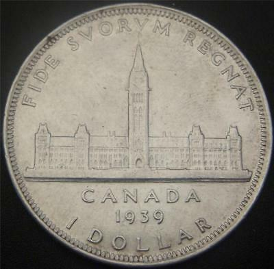 1939 Canadian Silver Dollar - Full Ear and Hair Details Still Shows