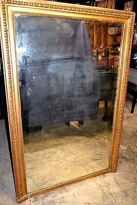 "Huge 62""x41"" French  circa 1899  Antique-Mirror-Gilded-Oak-Frame-Beautiful"