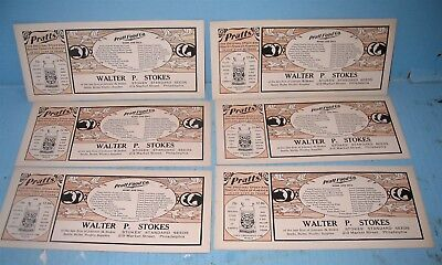6 Unused Pratts Poultry & Stock Food Advertising Blotter Lot Super Agricultural