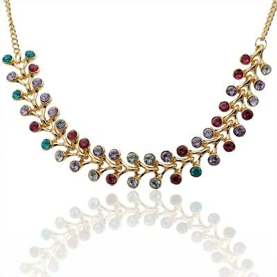 Fashion Gold Plated Acrylic Crystal Colorful Pendant Necklace For Women G754