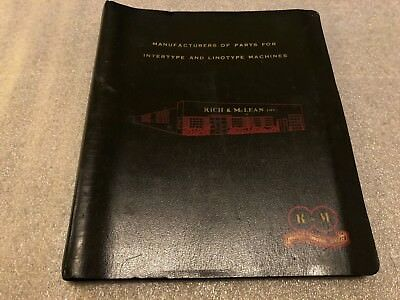 1950's Rich & McClean Intertype Linotype Machine Catalog Binder Style w Tabs