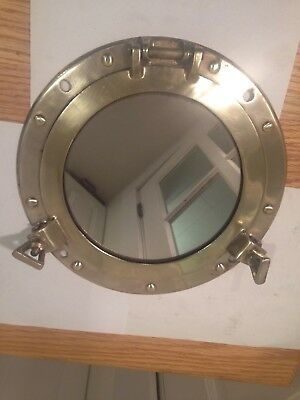 "Vintage solid brass Porthole cover, 11.5"", with mirror."