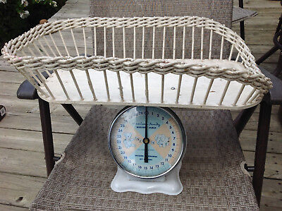 "Vintage American Family nursery baby scale with wicker basket white 20"" long"