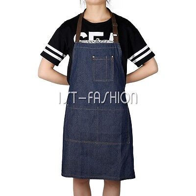 Working Apron Cafe Barista Pub Bar Denim Pockets Apron Workwear Adjustable Strap