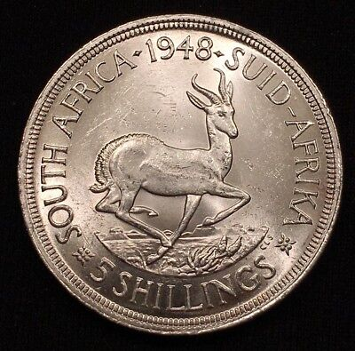 1948 South Africa 5 Shillings, Silver, KM# 40.1, BRILLIANT UNCIRCULATED