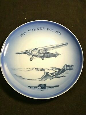 """1977 Bing & Grondahl  B&G Western Airlines The Fokker F-10 Airplane 7"""" plate"""