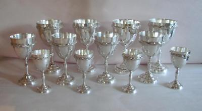 Vtg Kimberley Sterling Silver Mexican 12 Goblets 3 Sizes 4 Of Each Size HEAVY !!