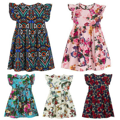 Kids Toddler Girl Floral Casual Holiday Party Pageant Princess Dresses Summer