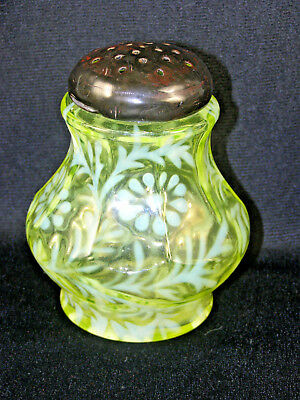 Vaseline Opalescent Glass Sugar Shaker - Paneled Daisy & Fern