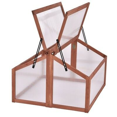 Garden Yard Double Box Wood Greenhouse Cold Frame Raised Plants Bed Protection