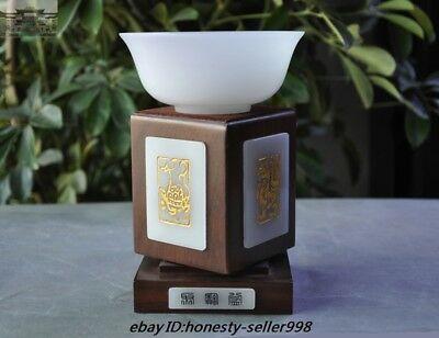 100% Natural White Jade Hand-carved Four God beast Rotate Base Bowl Cup Bowls