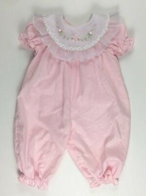 Vintage Girls B.T. Kids 6-9 M Pink Romper One Piece With Ruffle Rosettes Collar