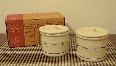 Longaberger Pottery 2 Classic Blue 1 Pint Salt Crocks & Lids with Knobs