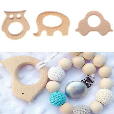 8Pcs Wood Organic Natural Chew Toy Wooden Teether Pendant Baby Teething Toy