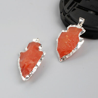 5Pcs 925 Sterling Silver Arrowhead Pendant, Rough Naural Red Chalcedony BSS021