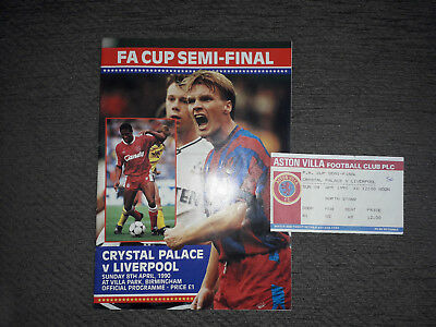 PROGRAMME & MATCH TICKET - CRYSTAL PALACE v LIVERPOOL - F.A CUP SEMI 1990