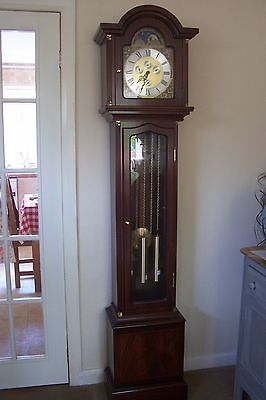 Grandfather Clock Hermle M'ment Triple Chime, Moon Phase, Calendar, Mahogany 77""