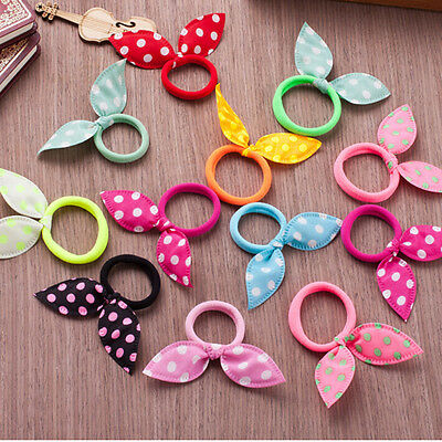 10x Rabbit Ears Hair Holders Hair Accessories Kids Girl Women Rubber HairBand