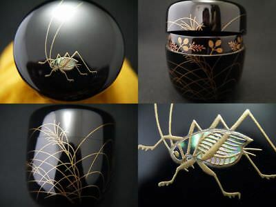 Japanese Traditional Lacquer Wooden Tea caddy Bell Cricket makie Natsume  (223)