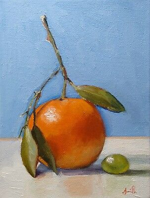 Oil Painting on canvas. Clementine With Grape. Still Life Original. J Smith