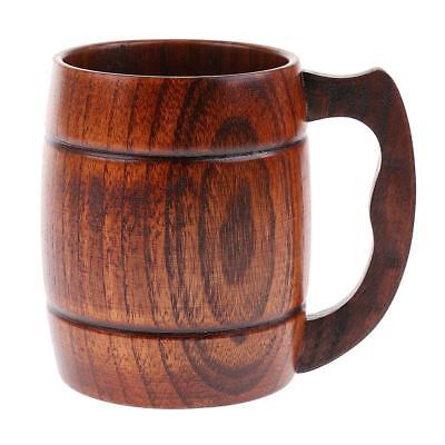 Handmade Natural Wooden Cup Beer Milk Drinking Cup for Home Tools 350ml #2