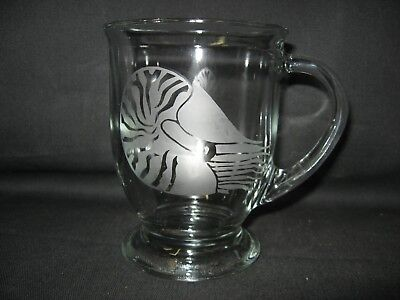 New Etched Nautilus Glass Coffee Hot Chocolate Mug