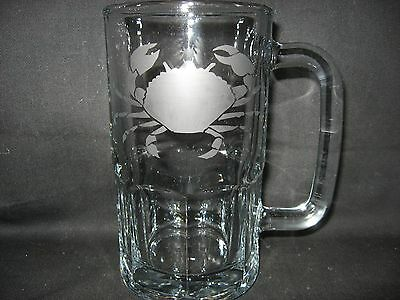 New Etched Crab Glass Root Beer Mug