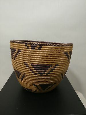 OLD Basket Tight Weave African Round geometric Design With Damage
