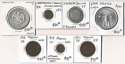 7 Old Mexico Coins Catalog Value $800 (1770-1949) See Pictures >  No Reserve