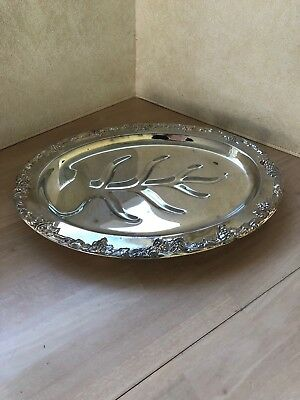 Alvin SilverPlate -- FOOTED Meat Draining SERVING Tray by Gorham, exc used cond