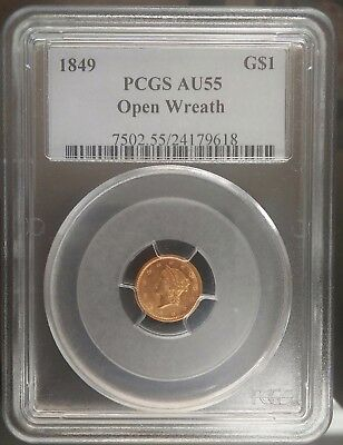1849 $1 Gold Pcgs--Au 55 Open Wreath With L