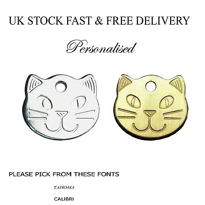 Personalised Cat Pet Design ID Tag Disc Silver Brass Engraved Free UK Delivery