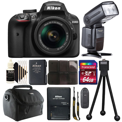 Nikon D3400 DSLR Camera with 18-55mm Lens, Speedlight Flash and Accessory Bundle