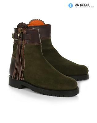 5ffb4e04054 Penelope Chilvers Women s Inclement Cropped Tassel Boots - Seaweed Conker